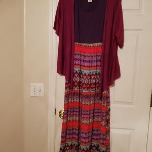 Long dress with brown top and multicolored bottom